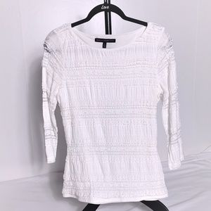 WHBM White Lace Layered Top 3/4 Sleeve